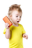 Bambino sorpreso divertente isolato fotografia stock libera da diritti