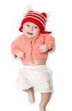 Bambino sorridente allegro su bianco Fotografia Stock Libera da Diritti