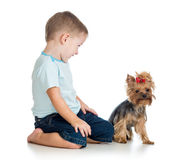 Bambino sorridente che gioca con un cucciolo di cane Immagine Stock
