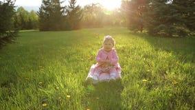 Bambino sorridente che si siede sull'erba archivi video