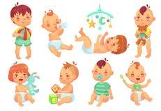 Bambino sorridente del fumetto Bambini svegli felici che giocano con i giocattoli, il piccolo infante con la tettarella ed i bamb illustrazione vettoriale