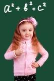 Bambino sorridente heerful del ¡ di Ð alla lavagna Concetto del banco Fotografia Stock Libera da Diritti