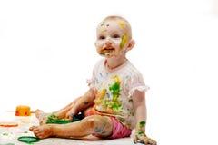 Bambino sporcato dalle casette della pittura Fotografie Stock