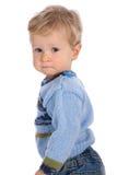 Bambino su priorità bassa bianca fotografia stock