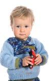Bambino su priorità bassa bianca immagine stock
