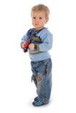 Bambino su priorità bassa bianca fotografie stock