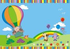 Bambino sul pallone illustrazione di stock