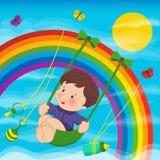 Bambino sull'arcobaleno Fotografia Stock Libera da Diritti