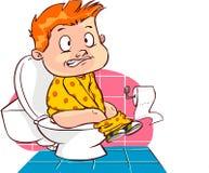 Bambino sulla toilette Fotografia Stock Libera da Diritti