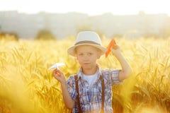 Bambino sveglio che cammina nel giacimento dorato del grano un giorno di estate soleggiato Fotografia Stock Libera da Diritti