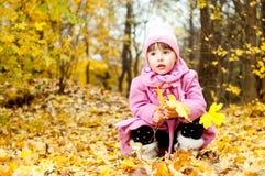 Bambino sveglio che cammina nella sosta di autunno Fotografie Stock Libere da Diritti