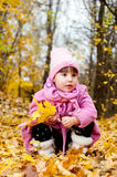 Bambino sveglio che cammina nella sosta di autunno Immagini Stock