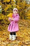 Bambino sveglio che cammina nella sosta di autunno Fotografia Stock