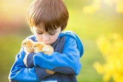 Bambino sveglio dolce, ragazzo prescolare, giocante con poco 'chi' neonato immagini stock libere da diritti