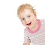 Bambino sveglio riccio che gioca pellame - e - ricerca Immagini Stock