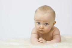 Bambino sveglio su priorità bassa bianca fotografie stock libere da diritti