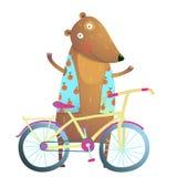 Bambino Teddy Bear Character con il fumetto sveglio di sport della bicicletta per i bambini Fotografia Stock Libera da Diritti