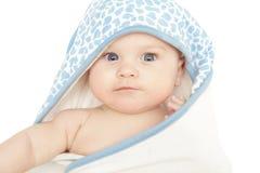 Bambino in tovagliolo Fotografia Stock