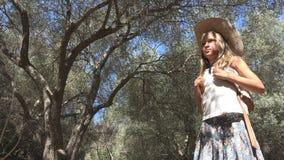 Bambino turistico sorridente in Olive Orchard, gioco all'aperto, bambino della ragazza in natura immagini stock libere da diritti
