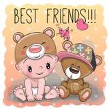 Bambino in un cappello ed in Teddy Bear dell'orso Illustrazione Vettoriale