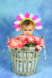 Bambino in un flowerpot immagine stock libera da diritti