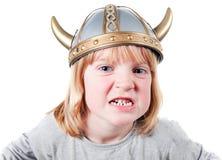 Bambino Vichingo arrabbiato Fotografia Stock Libera da Diritti