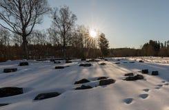 Bamble, Norwegen - 17. März 2018: Kirchhof, Gräber herein bedeckt im Schnee, hintergrundbeleuchteter Wald, an den ` s St. Olav Ki lizenzfreies stockfoto