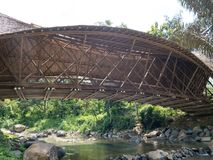 Bambo Bridge Across the River, Bridge Made from Bamboo. Bambo Bridge Across the River. Bridge Made from Bamboo in the Forest stock photography