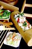 bambo porcelanowy wyśmienicie jedzenie smażący ryżowy owoce morza Zdjęcie Stock