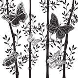 Bamboe en vlinders stock illustratie