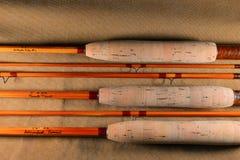 Bamboe flyrods stock fotografie