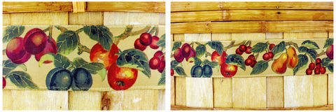 Bamboe geweven houten achtergrondfruitmand Stock Afbeeldingen