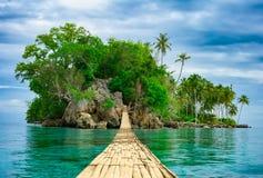 Bamboe hangende brug over overzees aan tropisch eiland Royalty-vrije Stock Foto