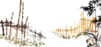 Bamboe met dier Stock Foto's