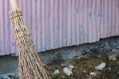 Bamboe Straw Broom Stock Foto