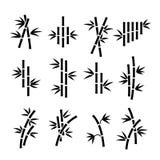 Bamboe vectorpictogrammen Aziatische die installatiestelen en bladeren op witte achtergrond worden geïsoleerd Royalty-vrije Stock Fotografie
