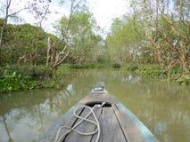 Bamboeboot door de mekong rivierdelta Royalty-vrije Stock Afbeeldingen