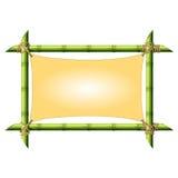 Bamboekader met uitgerekt canvas Stock Afbeelding