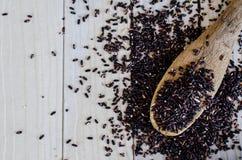 Bamboelepel met Organische Zwarte Wilde Rijst Stock Fotografie