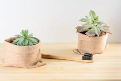 Bamboetandenborstel met houtskooltandpasta royalty-vrije stock foto
