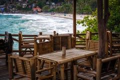 Bamboeterras op een strand royalty-vrije stock foto's