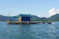 Bamboevlot die op water met bergachtergrond drijven Royalty-vrije Stock Foto's
