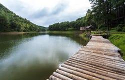 Bamboevlot in Pang- het Meerpark van Oung op regenende dag, Mae Hong So royalty-vrije stock foto