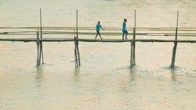 Bamboevoetgangersbrug over de rivierlengte van ongeveer 40 meters stock videobeelden
