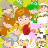 Bambola animale del bambino dello zodiaco cinese, anno di scimmia Fotografia Stock