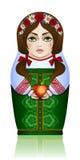 Bambola annidata russa nella stagione estiva Immagine Stock Libera da Diritti