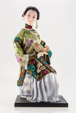 Bambola cinese con il ventilatore su bianco Fotografia Stock Libera da Diritti
