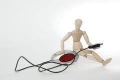 Bambola congiunta con il mouse del calcolatore Fotografie Stock Libere da Diritti