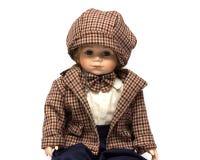 Bambola d'annata fatta a mano della porcellana ceramica del ragazzo castana con capelli ricci fotografia stock