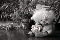 Bambola del pagliaccio con una Rosa Immagini Stock Libere da Diritti